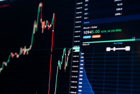 Beursgrafiek van Bitcoin-valutagroei tot USD 10000 - investering, e-commerce, financieringsconcept