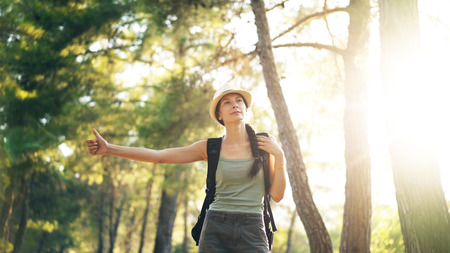 Traveler woman hitchhiking on a sunny forest road. Tourist girl looking for ride to start her journey Stock Photo