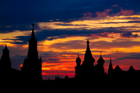 Gorgeous sunset on Moscow historical center Red Square and Kremlin tower silhouette