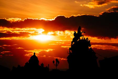 Beautiful sunset at Saint Petersburg city historical center , Russia