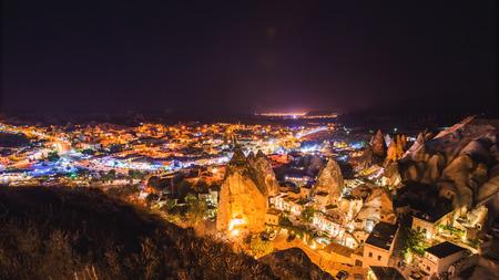 Goreme village in Cappadocia at night in Turkey