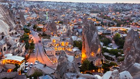 Goreme village in Cappadocia at sunset in Turkey 版權商用圖片