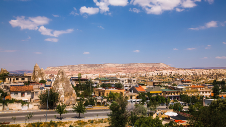 view of famous Goreme village in Cappadocia at day time in Turkey