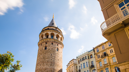 Famous tourist place Galata tower in Istanbul in Turkey 版權商用圖片