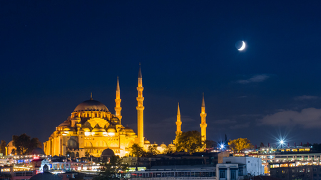 famous Suleymaniye mosque in Istanbul at night Reklamní fotografie - 91204531