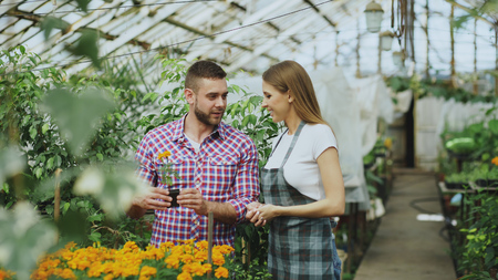 Young friendly woman gardener talking to customer and giving him advice while working in garden center