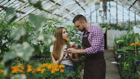 Young cheerful man florist talking to customer and giving advice while working in garden center Stock Photo