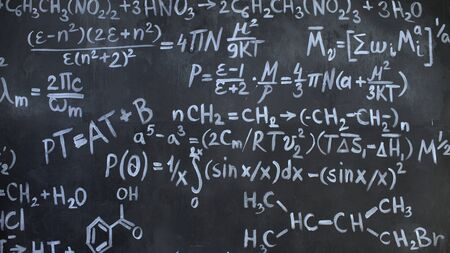 Chemical and mathematical equations wall room background Stock Photo