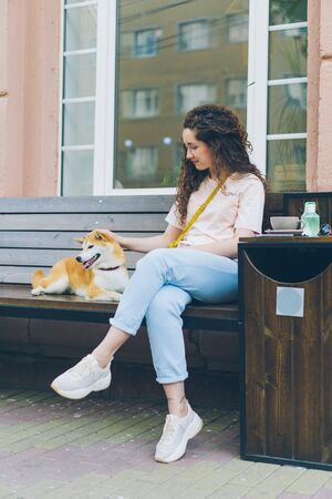 Female dog owner loving woman is caressing shiba inu puppy sitting on bench in street cafe enjoying time with beloved pet. Happiness and love concept. Imagens
