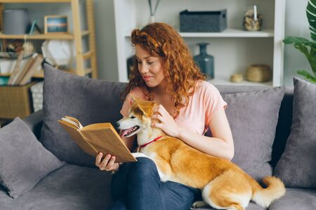 Smiling girl with beautiful red hair is reading funny story and caressing shiba inu puppy sitting on couch in apartment. People, lifestyle and animals concept.