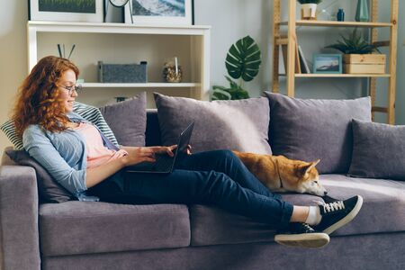 Happy student pretty girl is using laptop sitting on couch with shiba inu dog in modern apartment. Contemporary technology, domestic animals and people concept.