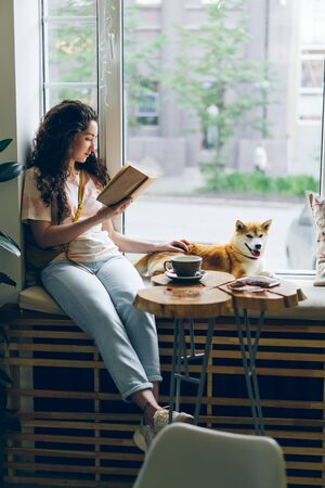 Happy young woman enjoying book and petting dog sitting on window sill in modern cafe. Literature, youth culture and lifestyle, domestic animals concept. Imagens