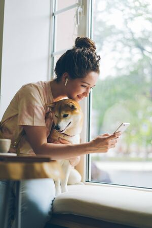 Student attractive woman is using smartphone enjoying music in wireless earphones and stroking well-bred dog sitting on window sill in cafe. Relaxation and animals concept.