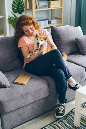 Happy teenage girl is hugging beautiful shiba inu dog sitting on sofa in modern apartment smiling. Domestic animals, happiness and youth lifestyle concept.
