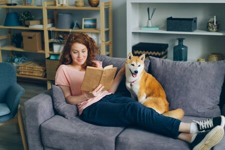 Pretty young woman with long curly red hair is reading book and caressing shiba inu dog sitting on couch at home. Lifestyle, youth culture and animals concept. Banco de Imagens