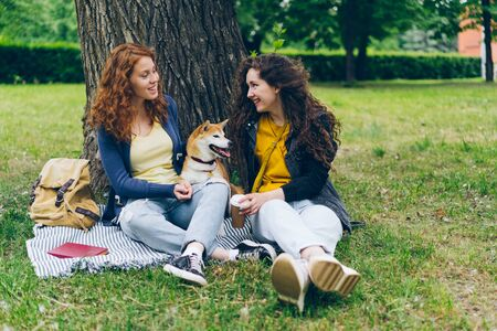 Beautiful young sisters talking and stroking dog sitting on lawn in park enjoying summer and friendship. Young woman holding carton glass of to go coffee.