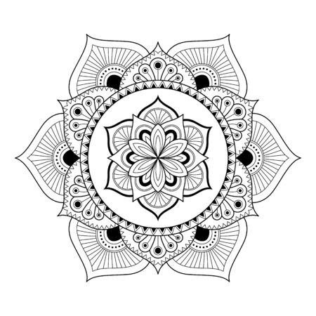 Mandala isolated on the white background. Template for coloring book page. Oriental mystical pattern. Yoga mandala. Stock vector illustration