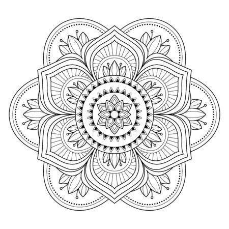 Mandala aislado sobre fondo blanco. Plantilla para colorear página de libro. Patrón místico oriental. Mandala de yoga. Ilustración vectorial de stock Ilustración de vector