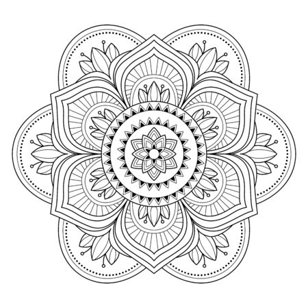 Mandala auf dem weißen Hintergrund isoliert. Vorlage zum Ausmalen von Buchseiten. Orientalisches mystisches Muster. Yoga-Mandala. Vektorgrafik auf Lager Vektorgrafik