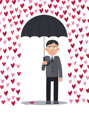 Unhappy serious sad man with an umbrella standing under a rain of hearts. Loneliness on Valentine Day. Stock vector illustration