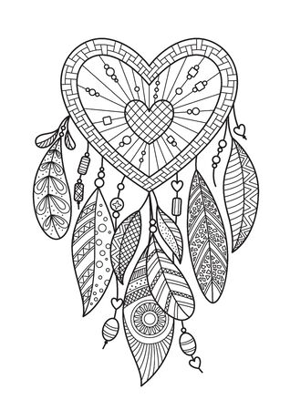 heart dream catcher with feathers. Doodle anti stress coloring book page for adult. Valentine day illustration isolated on the white background
