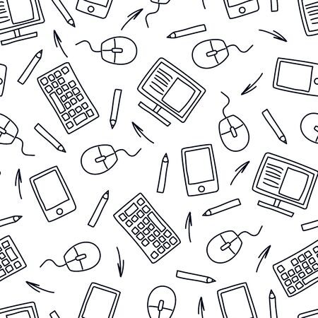 Seamless pattern of black doodles on business theme. Computer, keyboard, mouse and other supplies