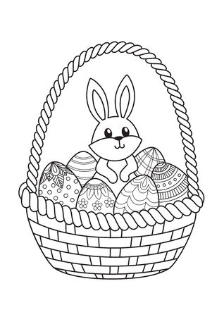 Doodle coloring book page easter bunny in bucket with easter eggs