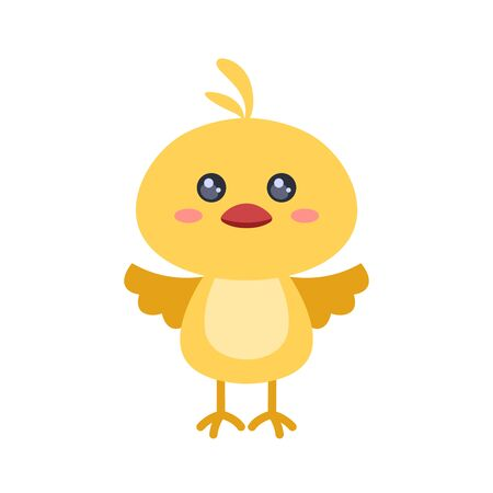 Cute chicken isolated on white background. Kawaii easter chicken character. Flat style. For design greeting card, banner, poster and other  イラスト・ベクター素材