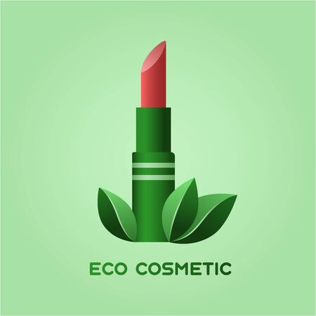 Concept illustration of ecologic and healthy cosmetics. Tube of pink lipstick in a green package and leaves Ilustración de vector