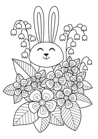 Cute easter bunny in flowers doodle coloring book page. Hand Drawn black and white sketch. Antistress coloring book page for adults. Vetores
