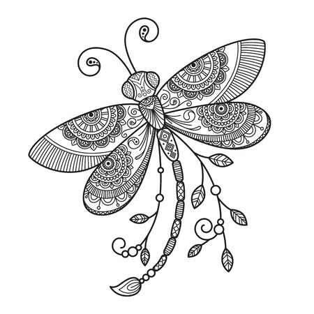 Vector dragonfly antistress doodle coloring book page for adult. Insect black and white illustration. Vektorgrafik