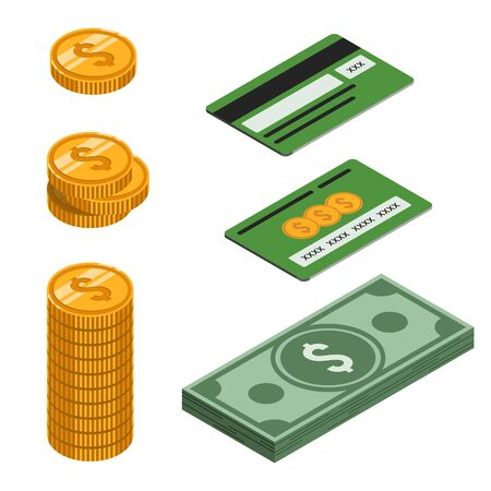 Money set in isometric. Isometric bundle of money, coin, column of coins and a bank card. Finance and money saving. Isolated on white background. Stock vector illustration