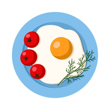 Fried egg on a plate. with tomatoes and herbs. Top view. Flat vector illustration. Isolated on white background.