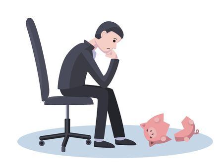 Poor businessman is looking at a broken empty piggy bank. Business ruin, poverty, lack of savings concept illustration