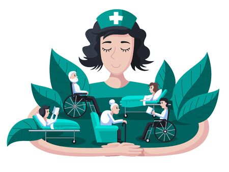 Nurse takes care of patients. The value of a nurse in medicine. Patient support and recovery assistance. Giant nurse hugs and supports sick people. White background 일러스트