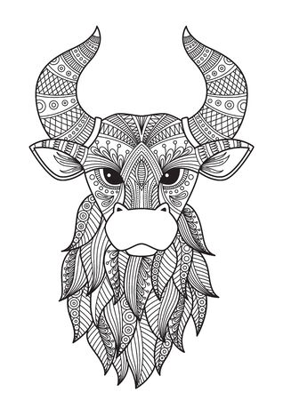 Bull doodle coloring book page. Antistress for adult. Chinese symbol of the year the bull in the eastern horoscope