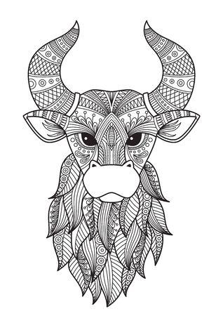 Page de livre de coloriage de doodle de taureau. Antistress pour adulte. Symbole chinois de l'année le taureau dans l'horoscope oriental