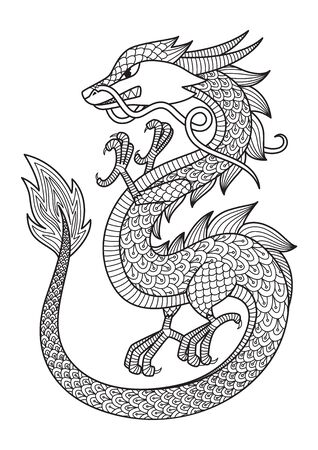 Chinese dragon doodle coloring book page. Antistress for adult.   Chinese symbol of the year the dragon in the eastern horoscope.