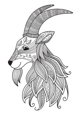 Goat doodle coloring book page. Antistress for adult. Chinese symbol of the year the goat in the eastern horoscope.