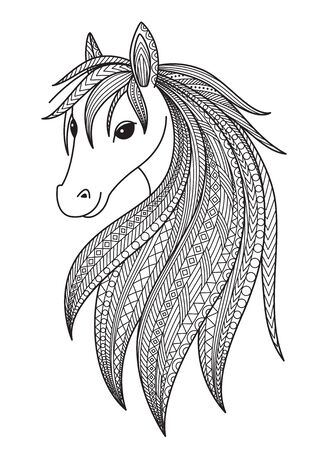 Horse doodle coloring book page. Antistress for adult.  Chinese symbol of the year the horse in the eastern horoscope.