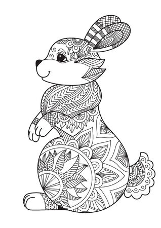 Rabbit doodle coloring book page. Easter bunny. Antistress for adult. Chinese symbol of the year the rabbit in the eastern horoscope.