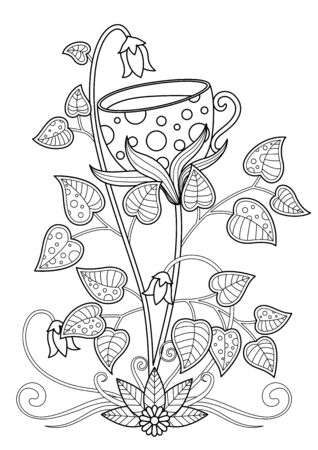 Doodle coloring book page flower cup of tea. Antistress for adult.  black and white illustration. Stock vector illustration