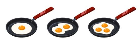 Fried eggs on frying pan. Isometric vector illustration. Isolated on white background. Stock vector Illustration