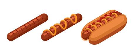 Isometric hot dog. Hot dog and sausage isolated on white background.  イラスト・ベクター素材