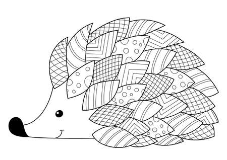 Hedgehog doodle coloring book page.