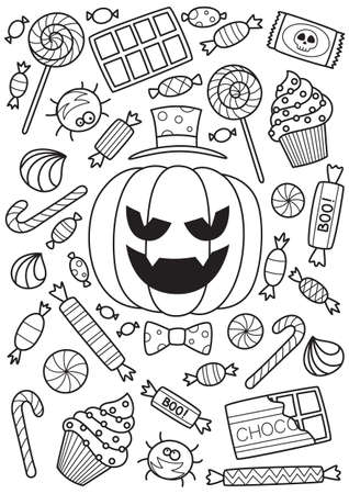 Halloween pumpkin and candies doodle coloring book page. Antistraess for adults. Stock vector illustration
