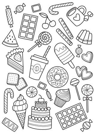 Sweets doodle coloring book page. Antistress for adults. Outlined black and white illustration