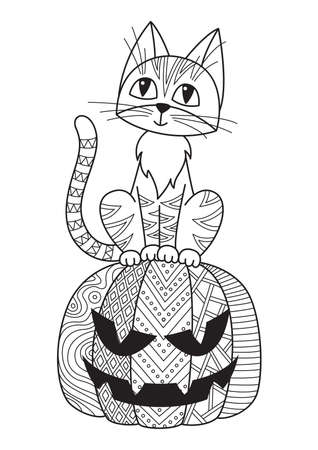 Halloween doodle coloring book page cat and pumpkin. Antistress for adults. Outline black and white illustration.