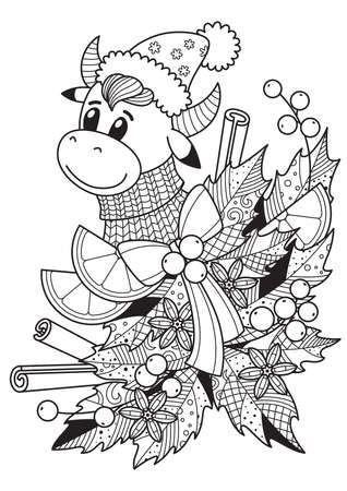 Christmas doodle colorng book page. Bull and holly leaves, orange, cinnamon sticks