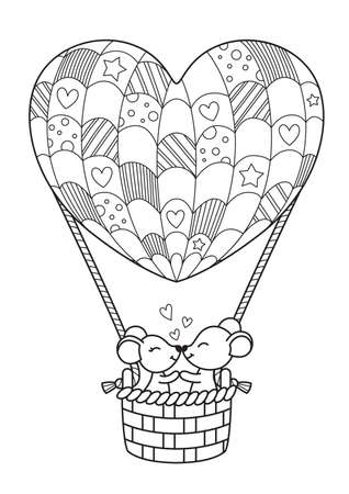 Doodle valentine coloring book page Loving mice in a heart-shaped hot air balloon.